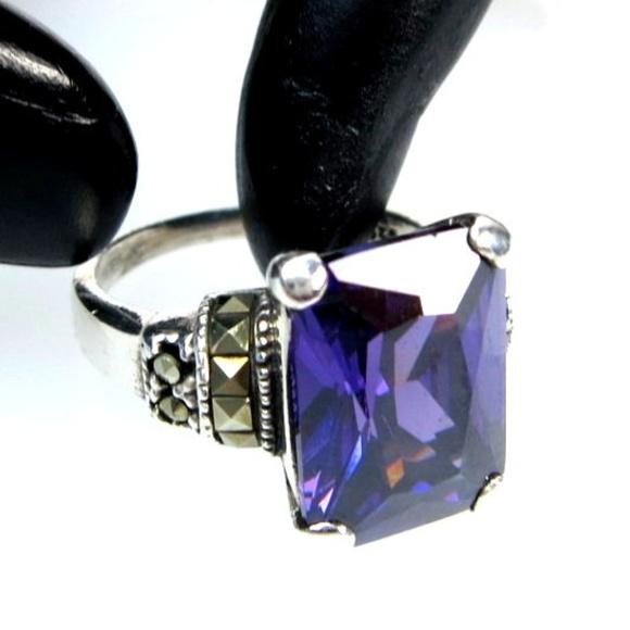 Morganite CZ jewelry rings size 8 .925 Silver X3 Amethyst